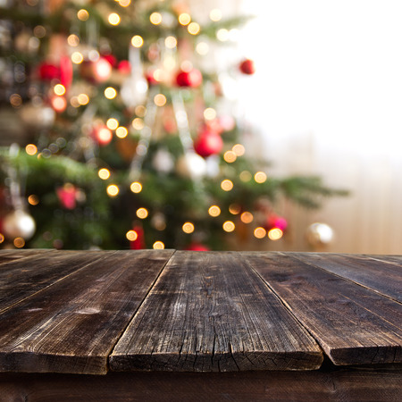 background wood: christmas table for product montage
