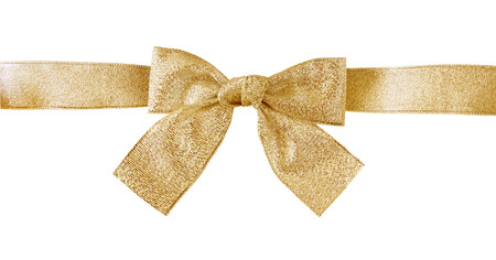 certificate bow: golden gift bow with clipping path Stock Photo