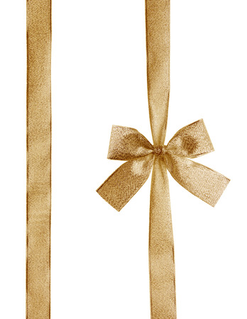 Golden ribbon and bow isolated on white with CLIPPING PATH