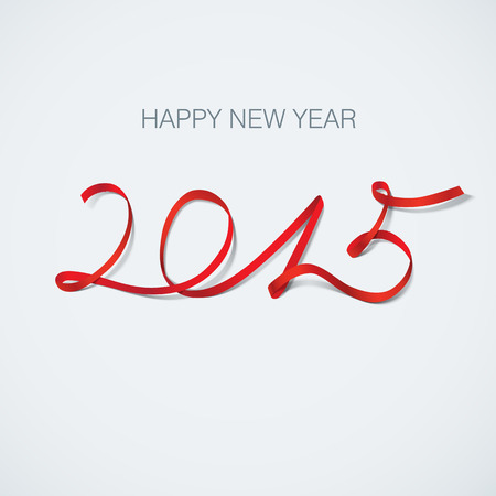 happy new year 2015 ribbon greeting card illustration