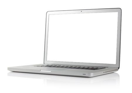 web side: Laptop on white  Stock Photo