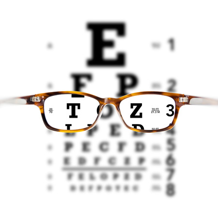 glasses against eye chart