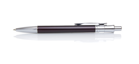 silver reflection: Elegant pen isolated on white. Clipping paths for pen and for reflection.