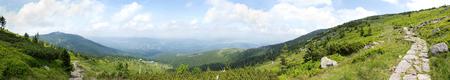 clearing the path: View of Szrenica mountain and town Szklarska Poreba, Poland