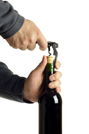 hyperspace: opening a bottle of red wine, clipping path included