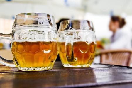 czech republic: beer mugs outdoors Stock Photo