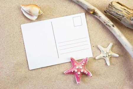 sea animals: postcard on the beach Stock Photo