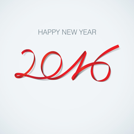 happy new year 2016 greeting card ribbon vector illustration Illustration