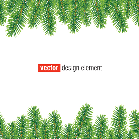 vector ornaments: vector christmas tree border, seamless horizontally