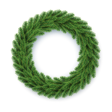 vector green Christmas wreath Illustration