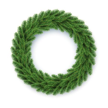 christmas decorations: vector green Christmas wreath Illustration