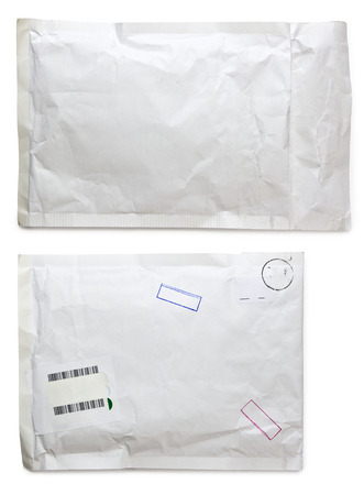 padded: white envelope with clipping paths Stock Photo