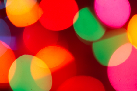 blue green background: blurred bokeh christmas lights out of focus Stock Photo