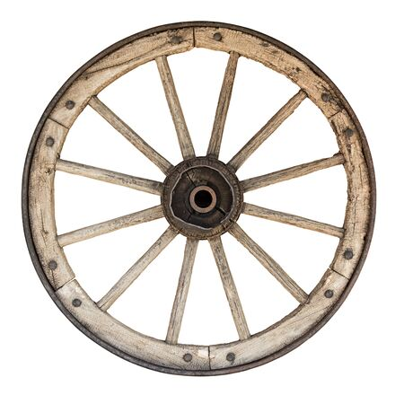 clipping: wooden wheel isolated on white with clipping path included