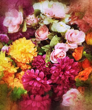 fullframe: flowers background, grunge effect added