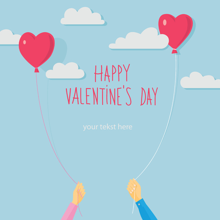 baloons: Valentines day vector card Illustration