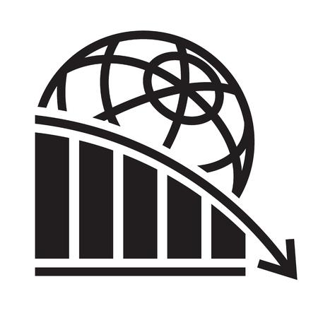 Global economy crisis icon