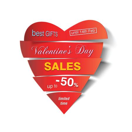 cut in paper: Vector cut paper heart sales Illustration