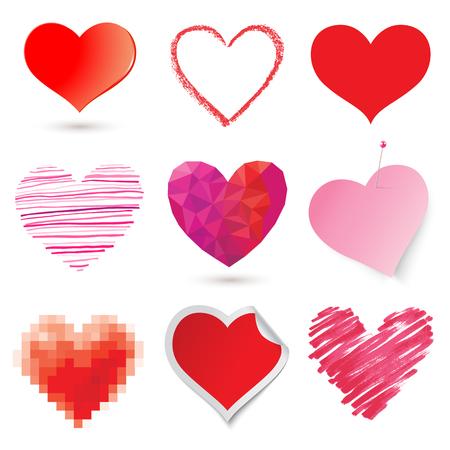 heart in hand: Vector heart set Illustration