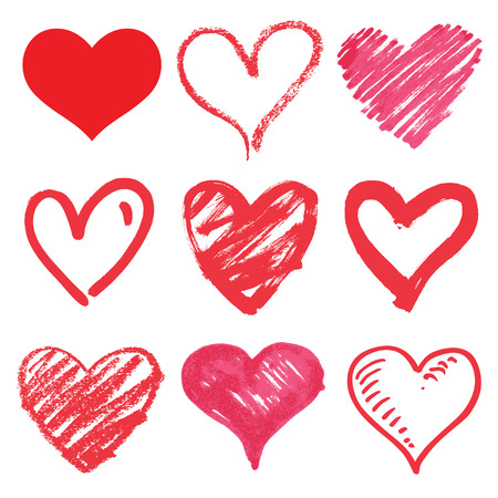 marker: serie de vectores corazón