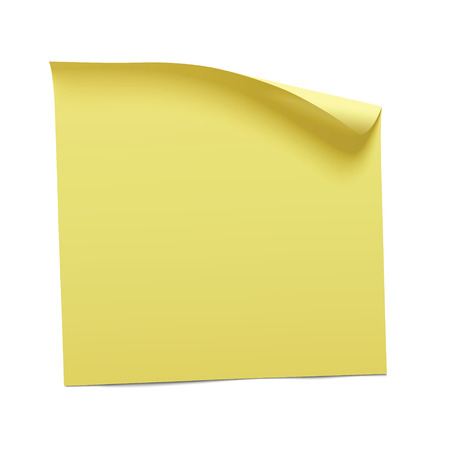 isolated on white: yellow sticky note, vector