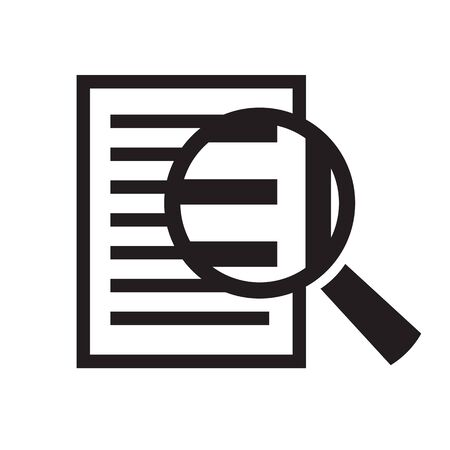 document icon: magnifying glass over document vector icon