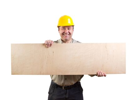 worker holding a plyboard, clipping paths included