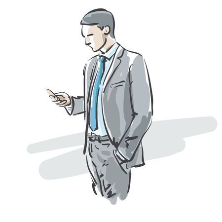 good looking man: businessman using a smartphone, vector illustration