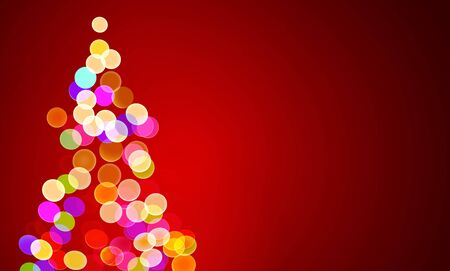vector illustration of christmas lights on tree, out of focus with copy space