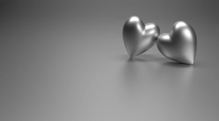 wedding decor: two metallic hearts, 3D rendering