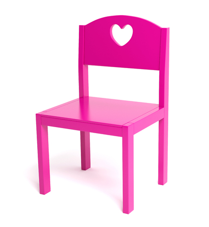 luxury homes: children pink chair 3D rendering, clipping path included