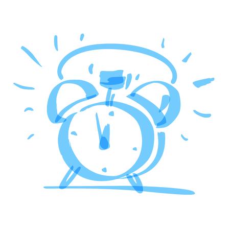 Handrawn marker alarm clock, vector illustration.