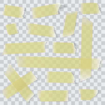 scotch: Transparent adhesive paper tape vector set Illustration