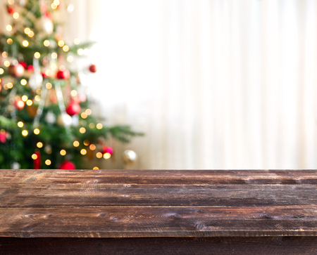 christmas table with empty space for a product Standard-Bild