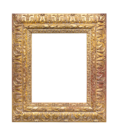 gilded wooden frame isolated on white background