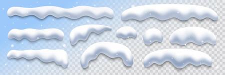 snow caps collection on transparent background, vector illustration design element
