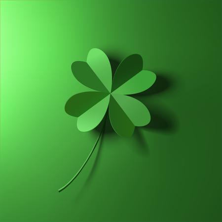 green four-leaf lucky clover leaf vector illustration Illustration