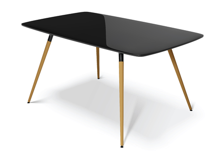 black table with wooden legs, vector illustration