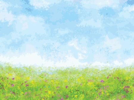 summer meadow impression, vector art illustration 矢量图像