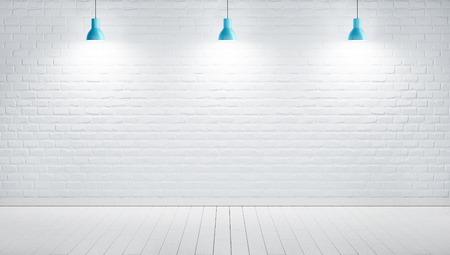 Hängelampen vor einem weiß gestrichenen Backsteinmauerhintergrund, 3D-Renderbild Standard-Bild