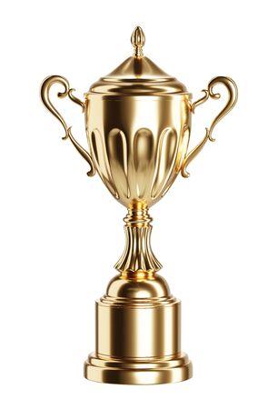 Coupe du trophée d'or isolée sur fond blanc illustration de rendu 3D.
