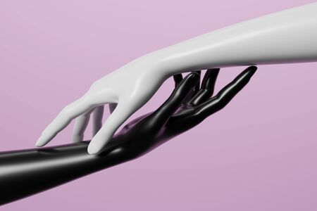 Black and white mannequin hand on pink background. 3D render image. Stockfoto