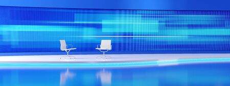 Two white, empty chairs in the modern tv studio with the wide screen. 3D render illustration. Фото со стока