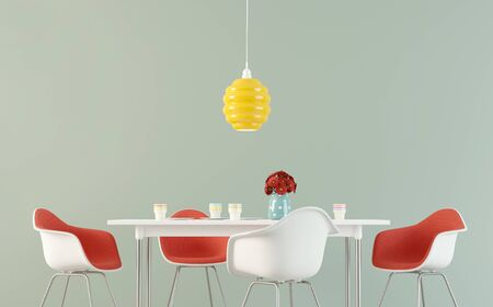 Simple dining room with a table, chairs and flowers against empty wall. 3D rendering image. Stock fotó