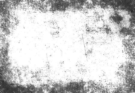 grunge halftone print frame, vector background