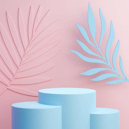 Podium platform for product presentation. Summer leaves in the background. Summertime background 3d illustration. 3D render.