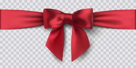 red satin ribbon and bow, isolated, vector illustration 矢量图像