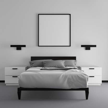 Black and white hotel bedroom. 3D render. 3D illustration.