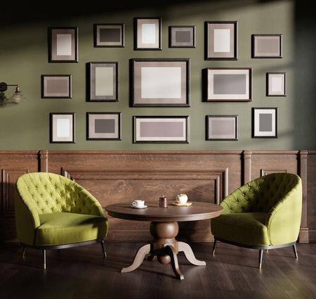 English cafe restaurant, vintage interior background with mock up pictures. 3D render, 3D illustration.