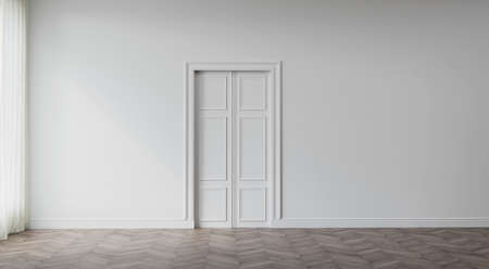 White, empty vintage interior. 3D render. 3D illustration. 免版税图像